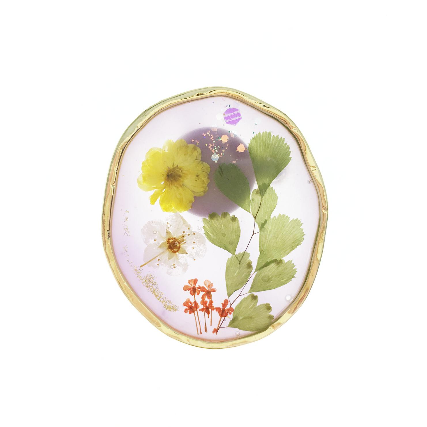 韓國 乾燥花 白黃花 葉子 胸針 別針