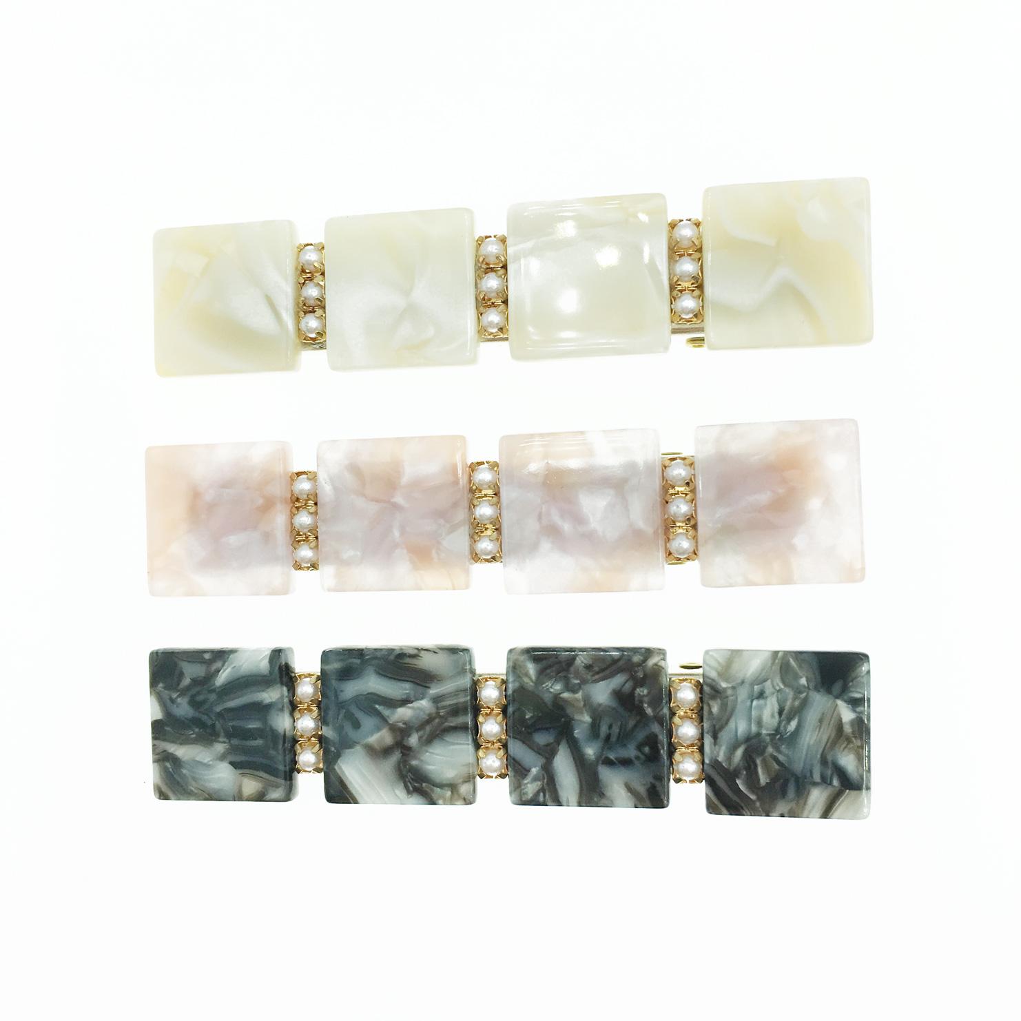 韓國 珍珠 大理石紋 3色 髮飾 壓夾 髮夾