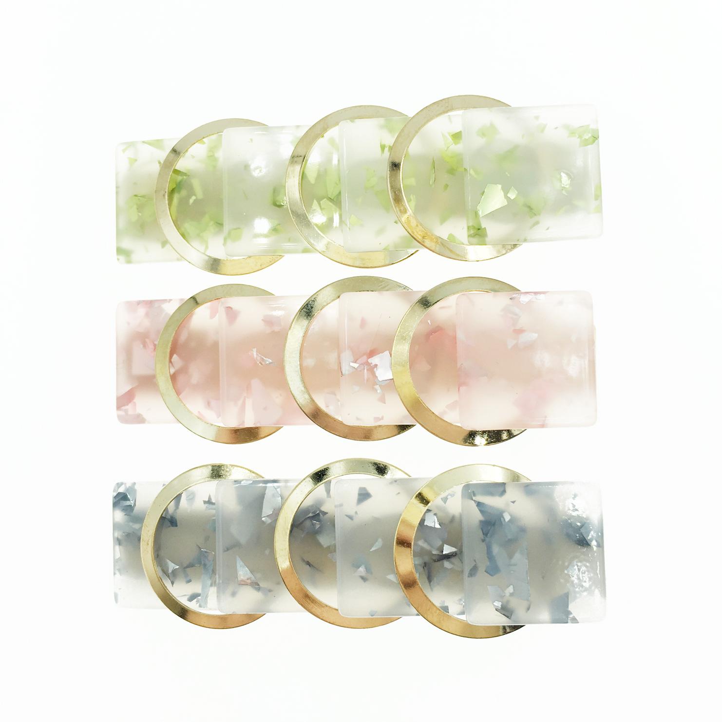 韓國 金圓圈 透色 髮飾 側邊夾 壓夾 髮夾