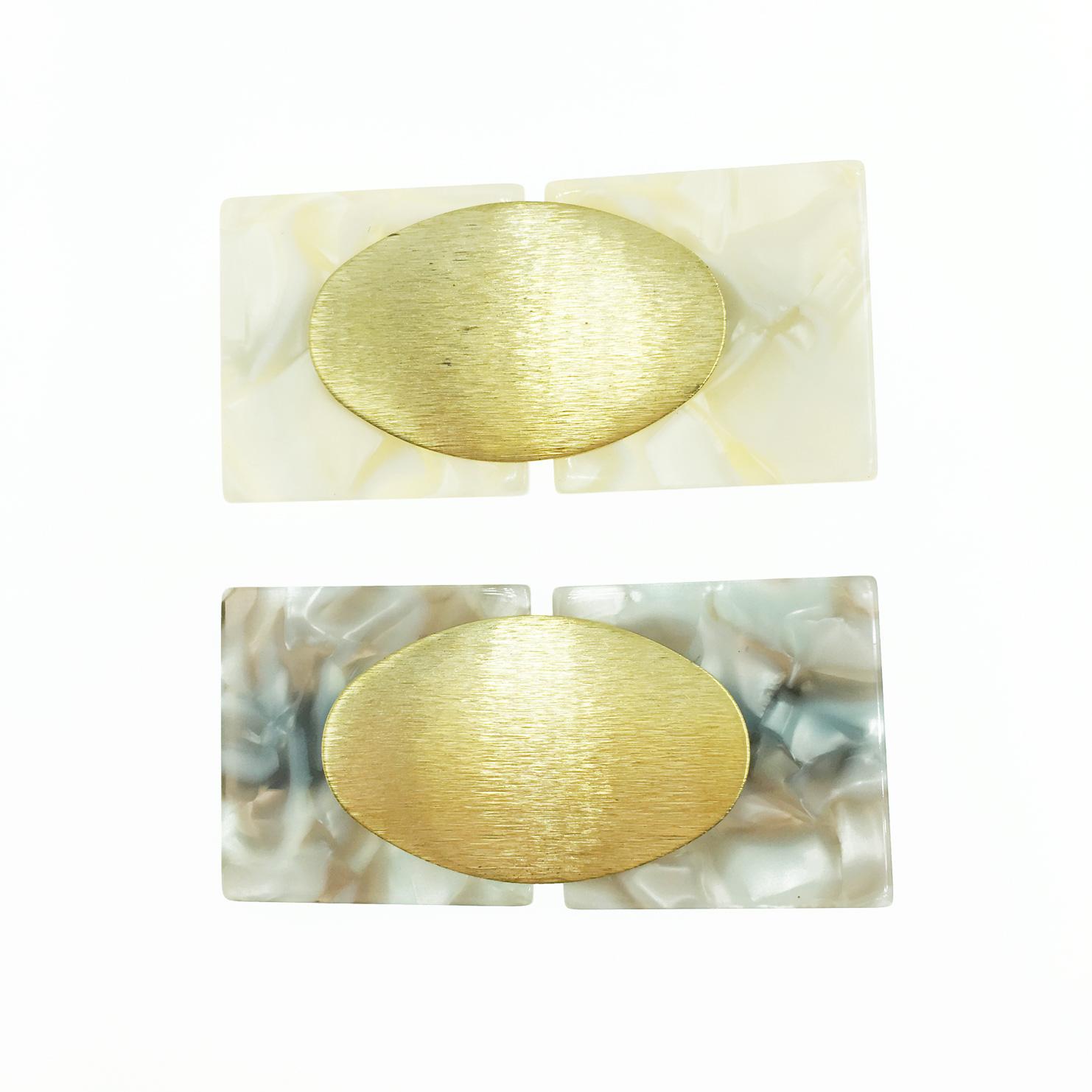 韓國 大理石紋 金橢圓 2色 髮飾 壓夾 髮夾