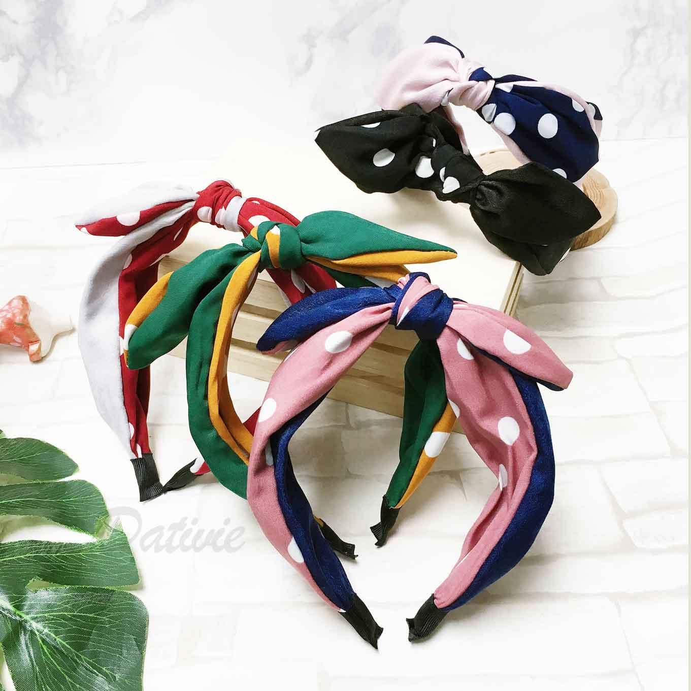 點點 白圓點點 蝴蝶結 可愛復古風 5色 髮飾 髮箍 頭箍