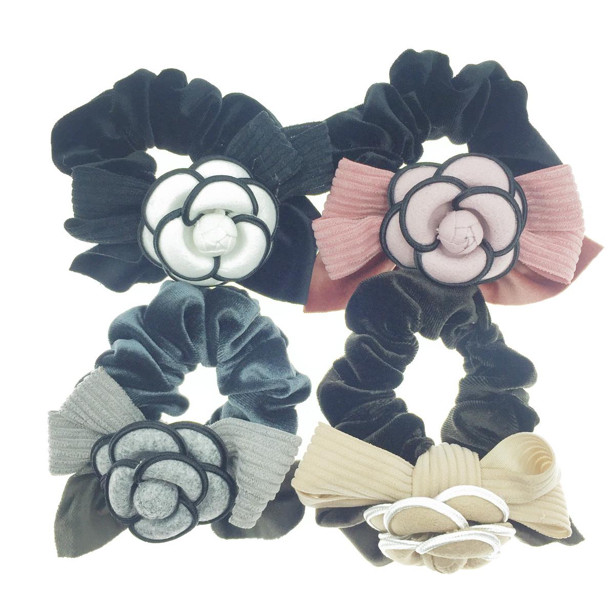 韓國 小香風 山茶花 蝴蝶結 4色 髮飾 髮圈 大腸圈