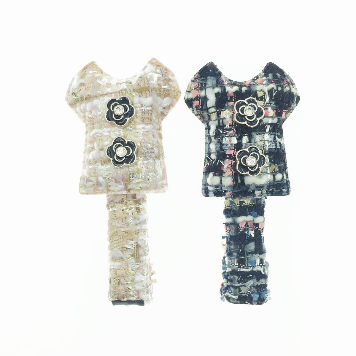 韓國 小香風 山茶花 水鑽 編織 2色 髮飾 壓夾 髮夾