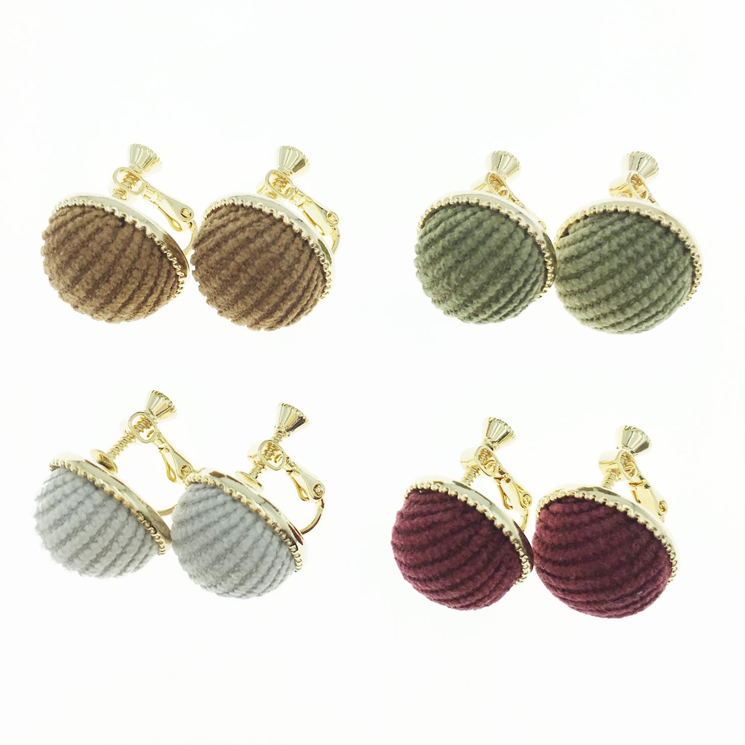 韓國 金邊圓 立體半圓 絨布面 素面 4色 夾式耳環