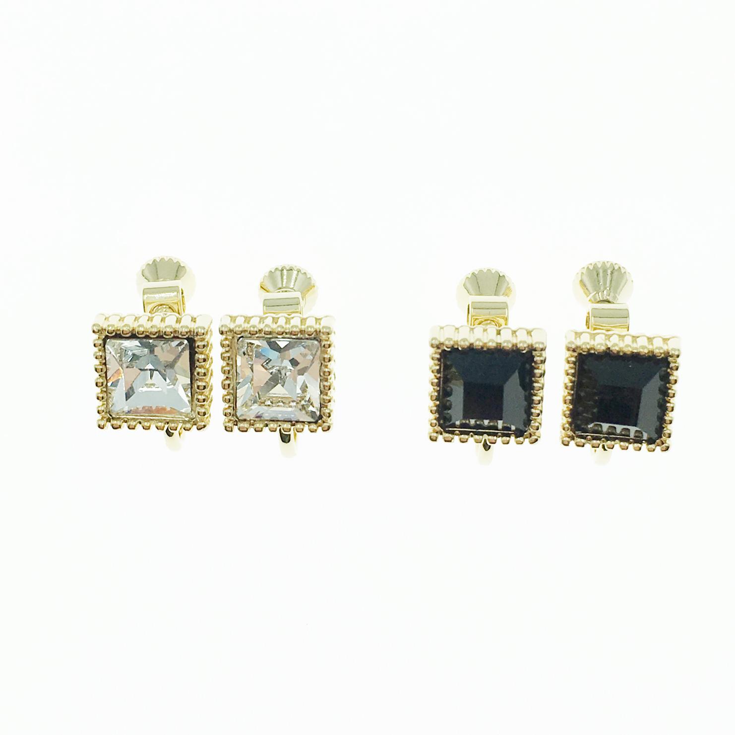 韓國 金邊方形 黑 白 鑽 簡約款 夾式耳環