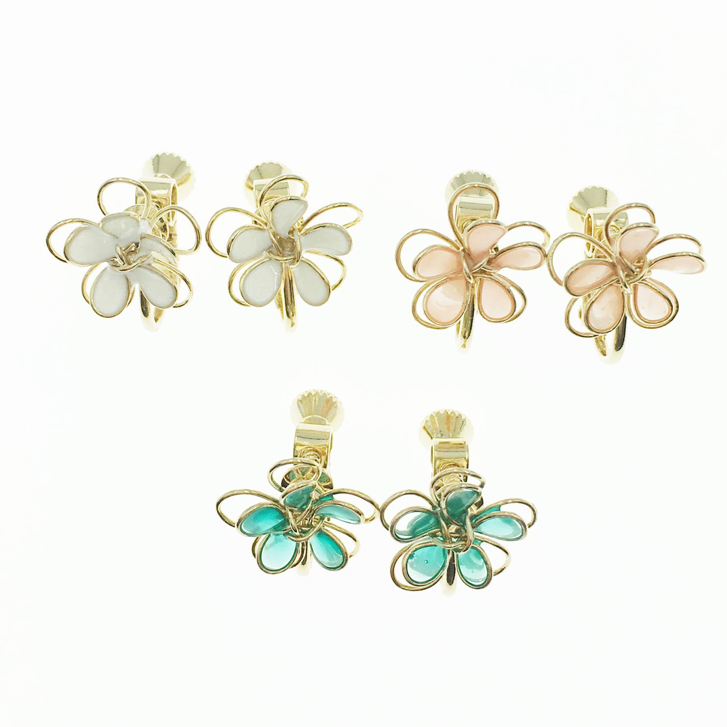 韓國 簍空 雙層花朵 小花 3色 甜美款 夾式耳環