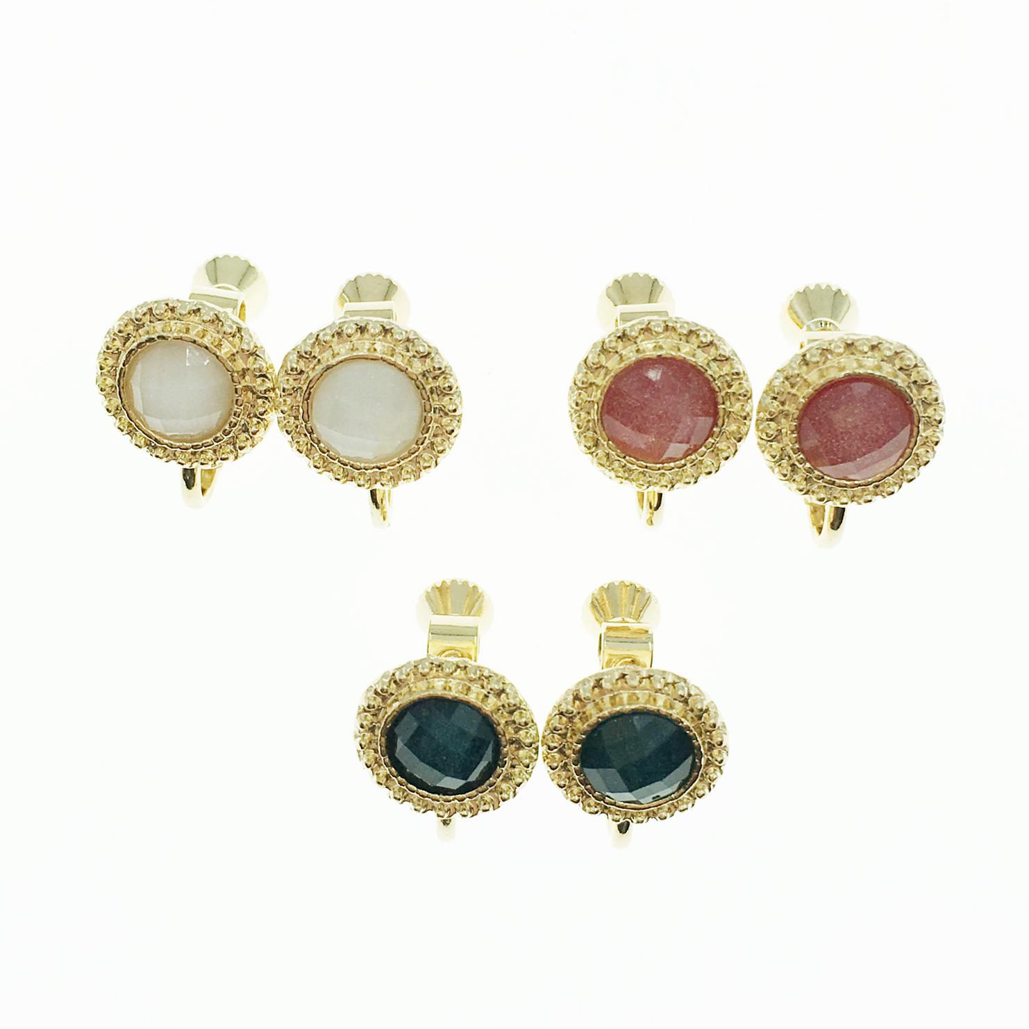 韓國 閃亮涼感寶石 圓 金邊金框 3色 夾式耳環