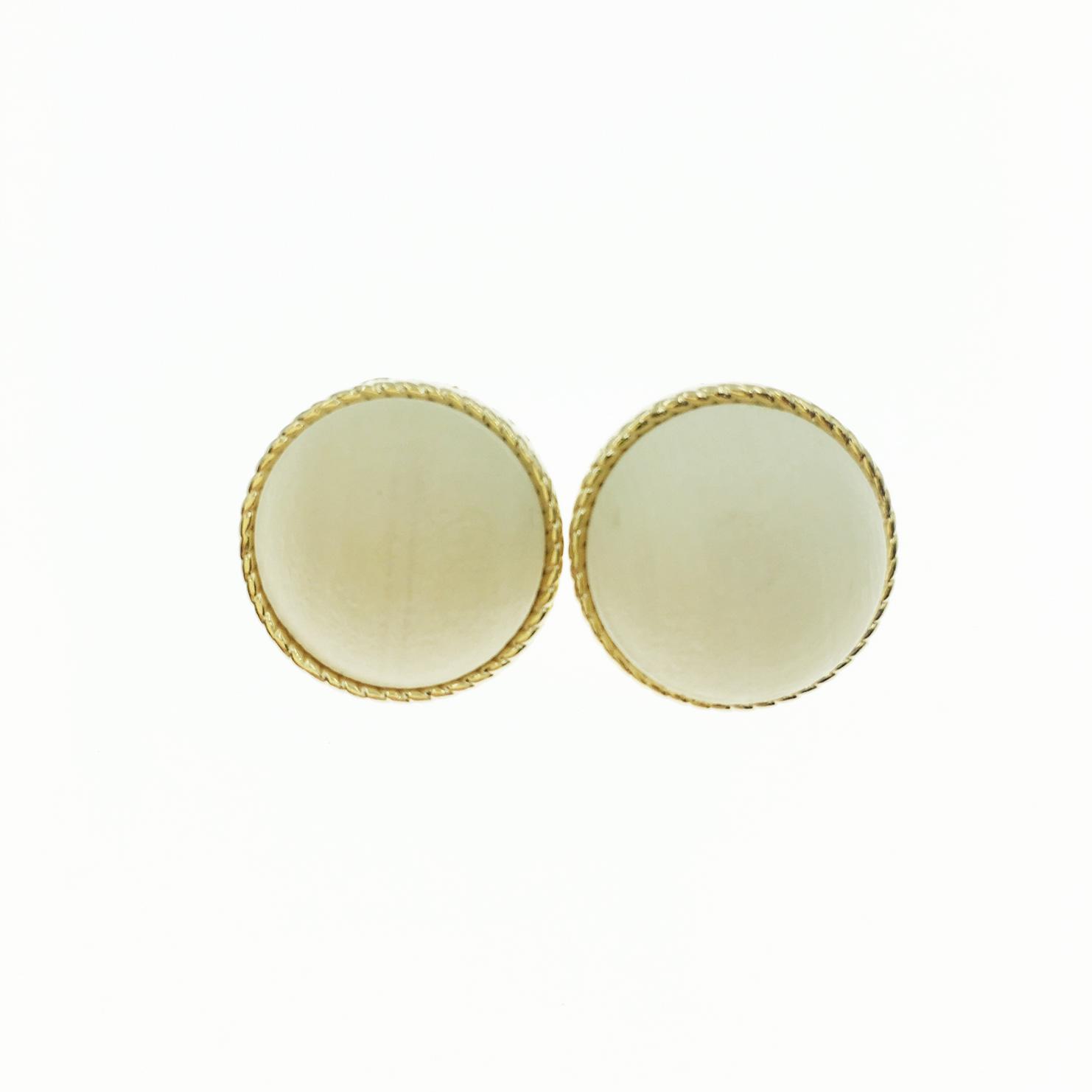 韓國 圓 金邊 木頭 簡約復古風 夾式耳環