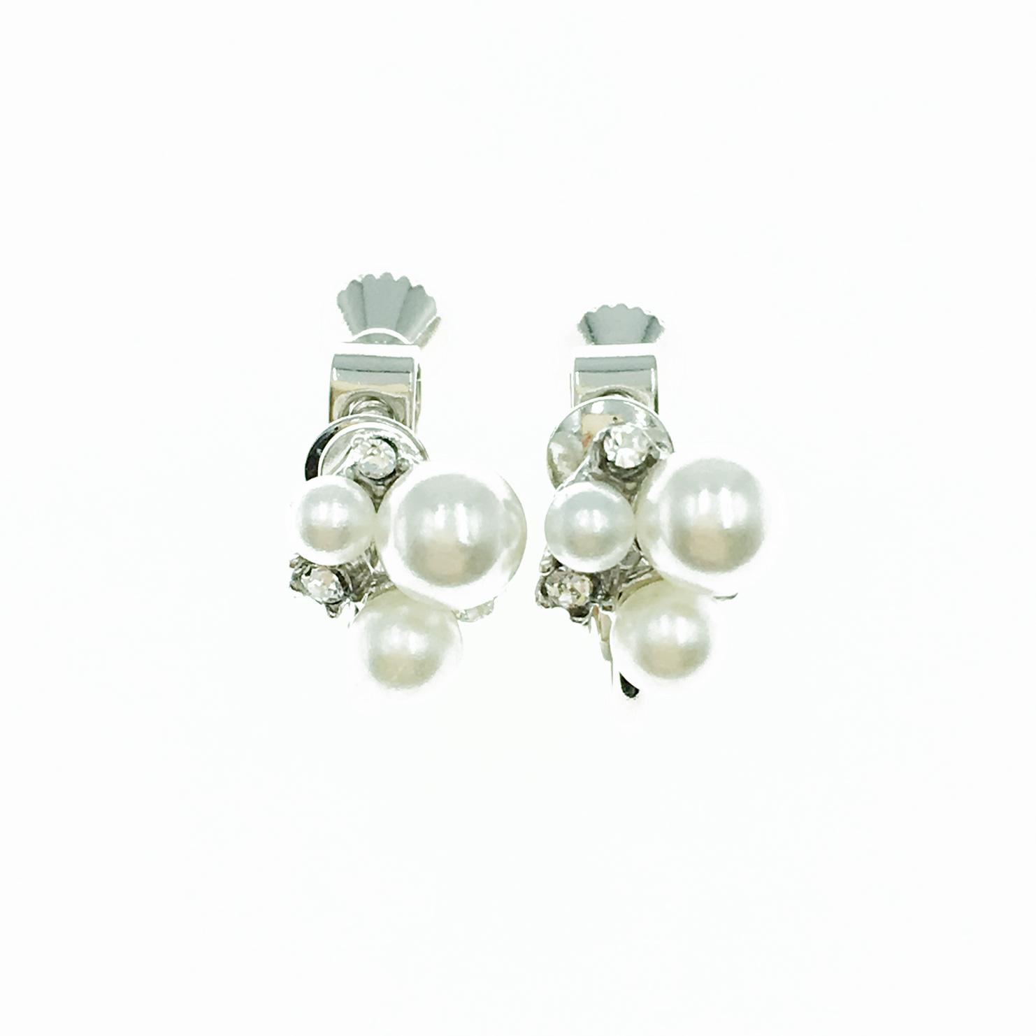 韓國 珍珠 水鑽 氣質優雅款 簡約 夾式耳環