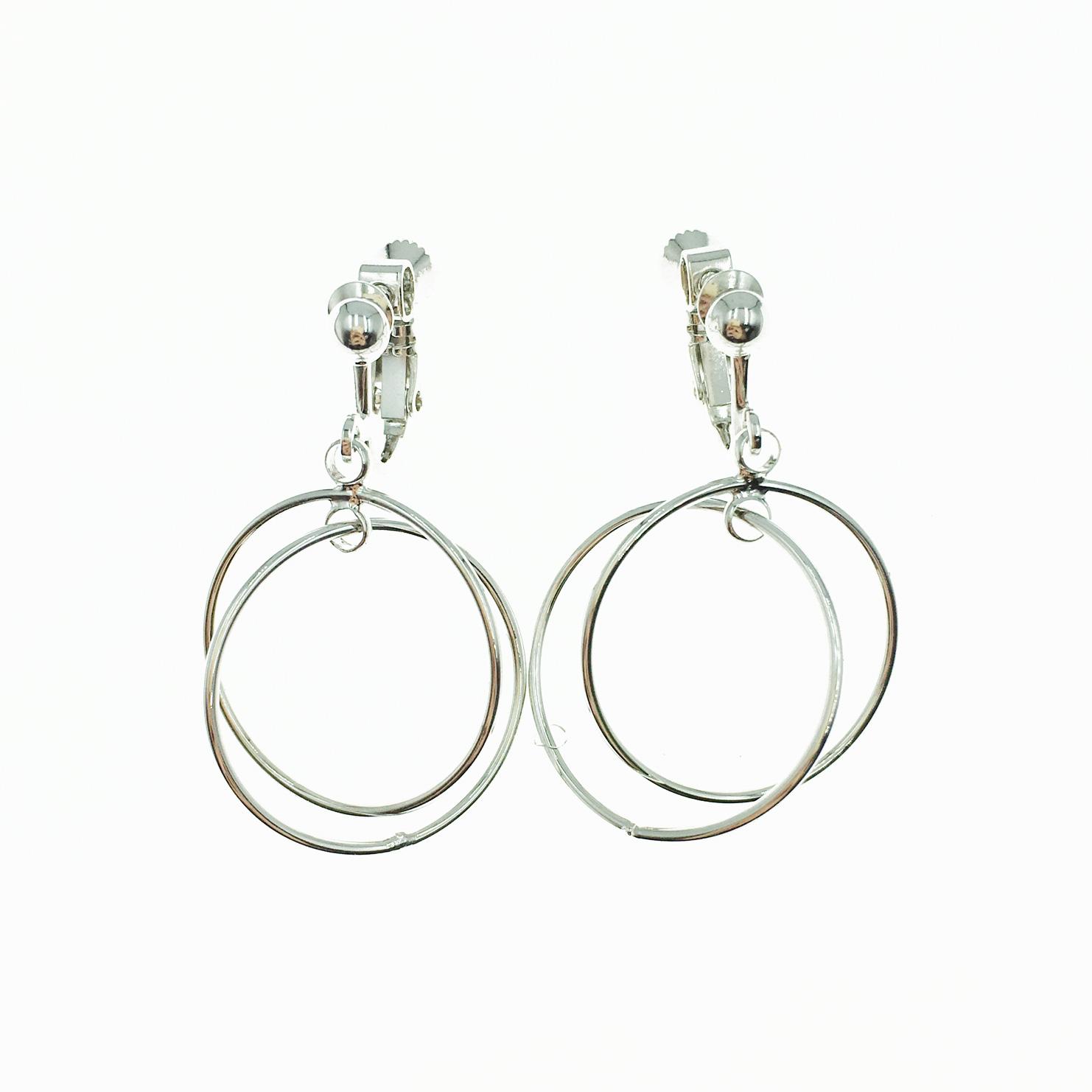 韓國 簍空 雙圓圈 歐美金屬 垂墜感 夾式耳環