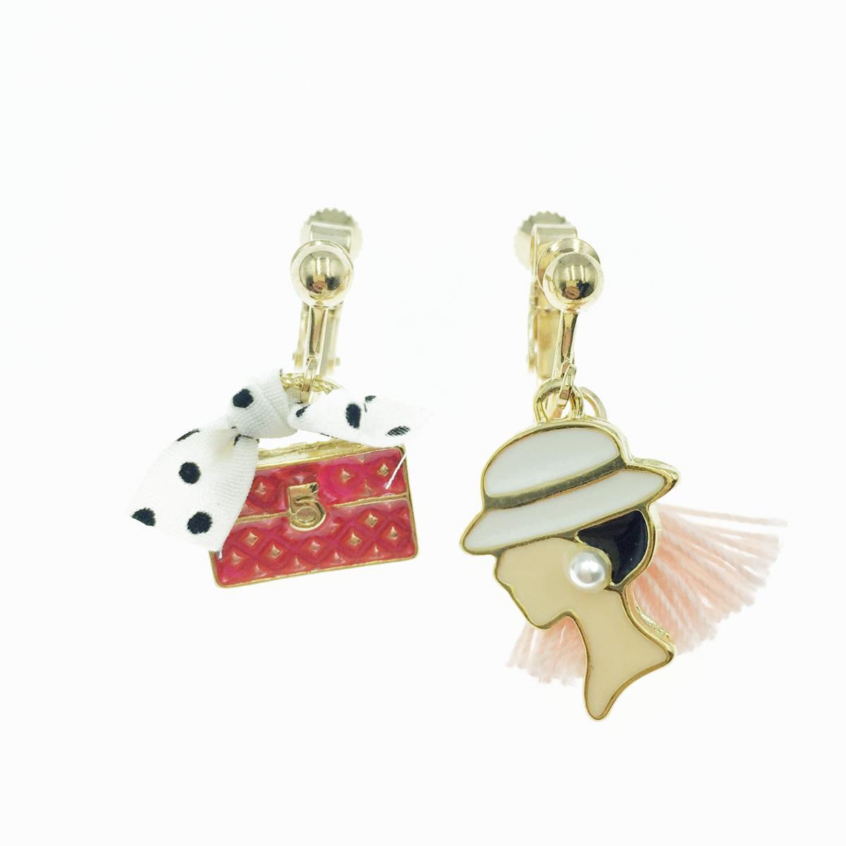 韓國 不對稱 小香風 點點蝴蝶結 包包 流蘇 女人 夾式耳環
