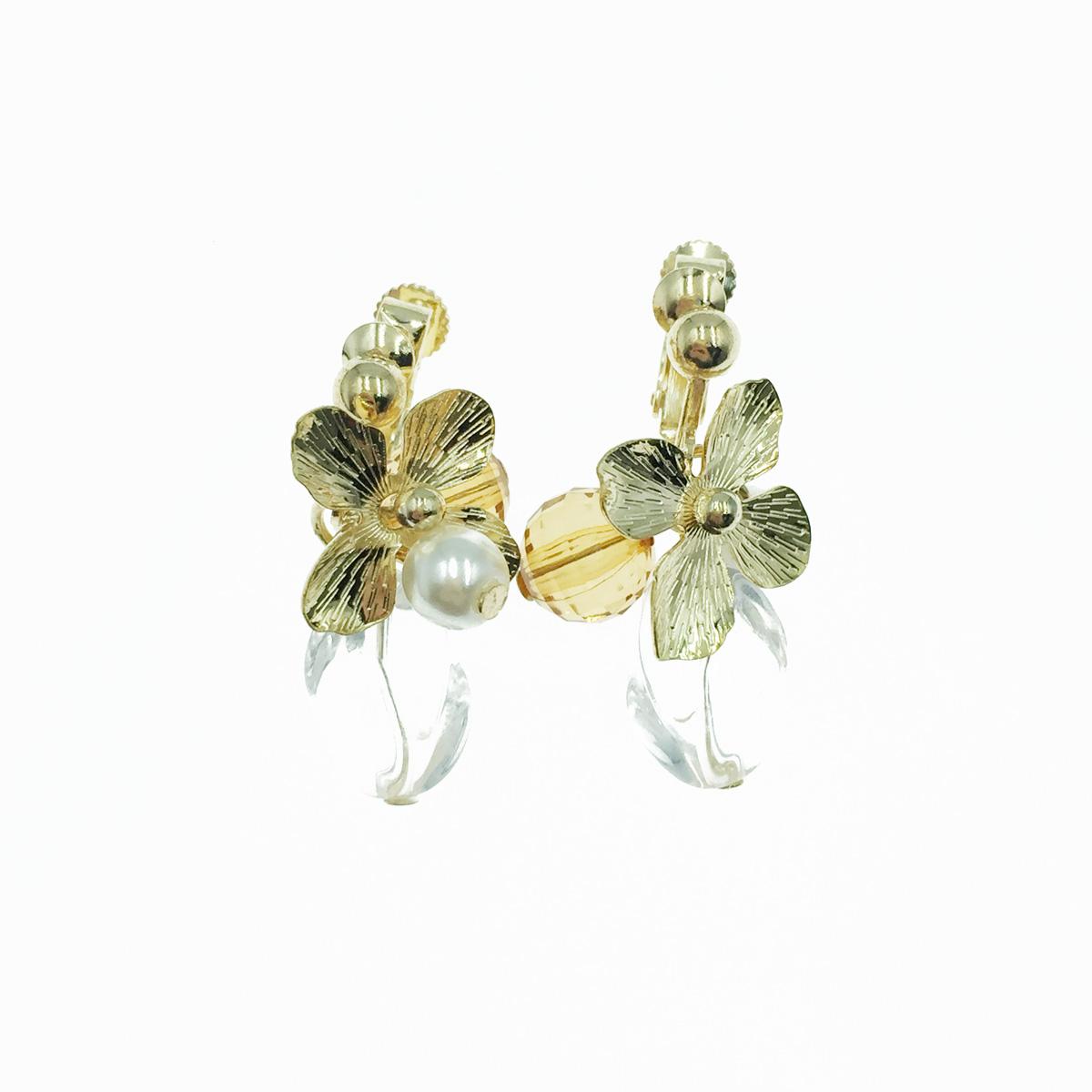 韓國 金花 珍珠 透色 垂墜感 夾式耳環