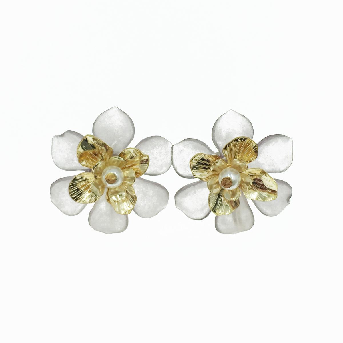 韓國 花造型 層次花瓣 珍珠 夾式耳環