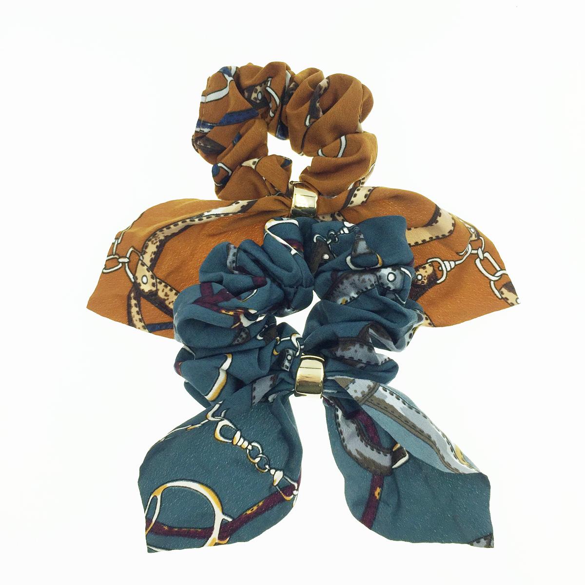 韓國 蝴蝶結 鎖鏈 2色 髮飾 髮圈 大腸圈