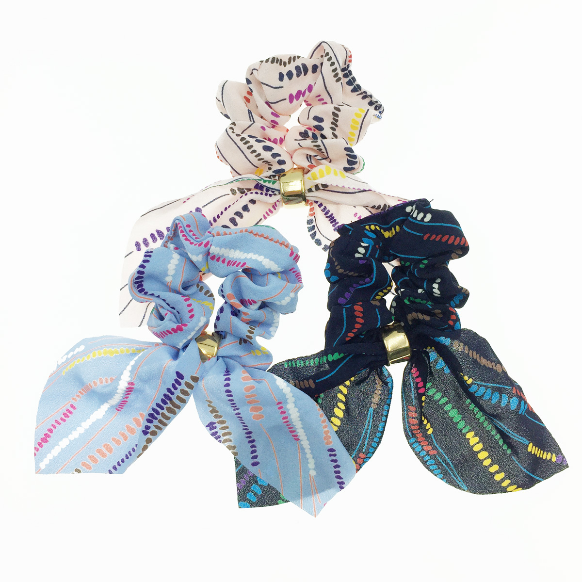 韓國 繽紛點點 蝴蝶結 3色 髮飾 髮圈 大腸圈