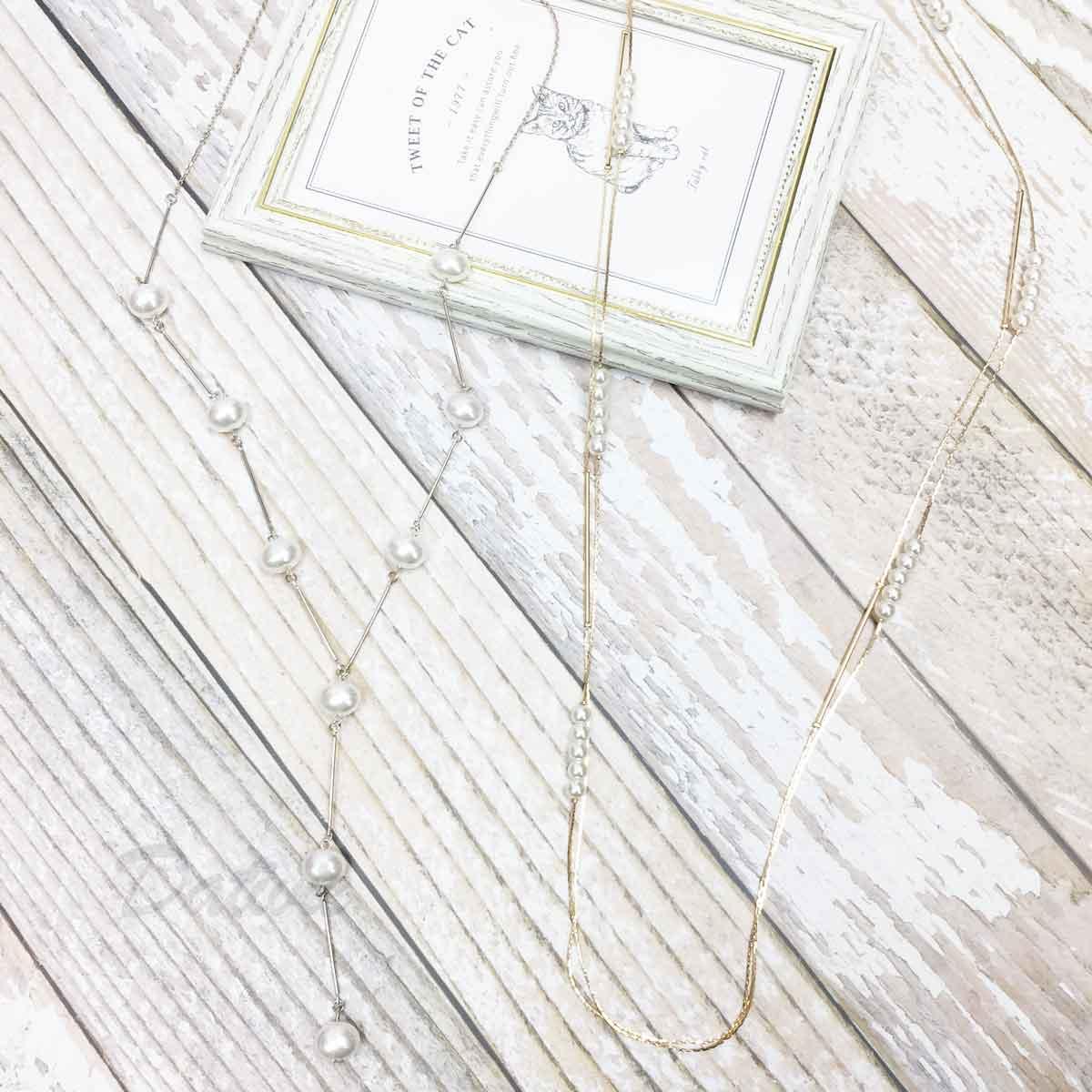 珍珠造型 串珠 金 銀 2款 長項鍊