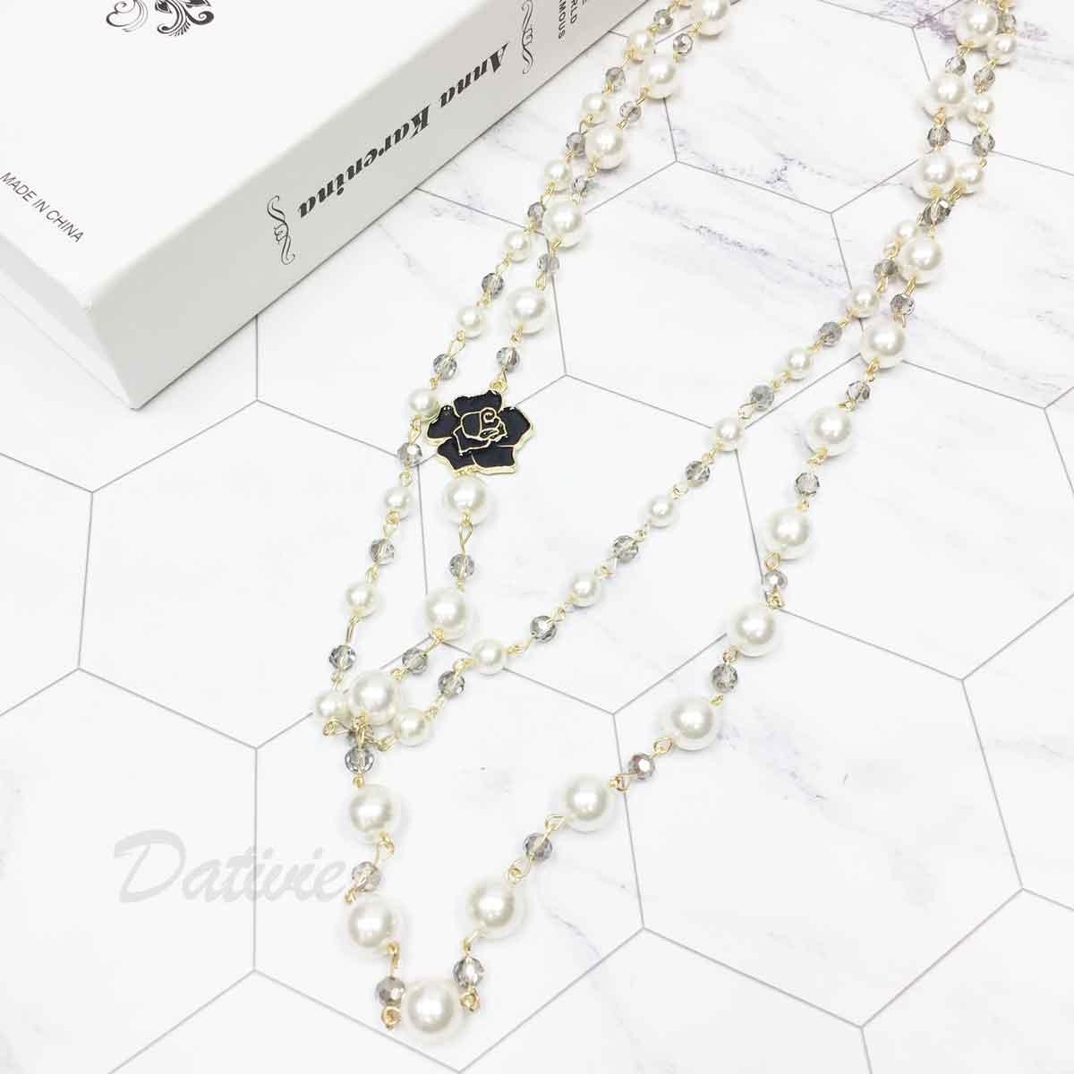 花 雙層 珍珠造型 串珠 水晶 長項鍊