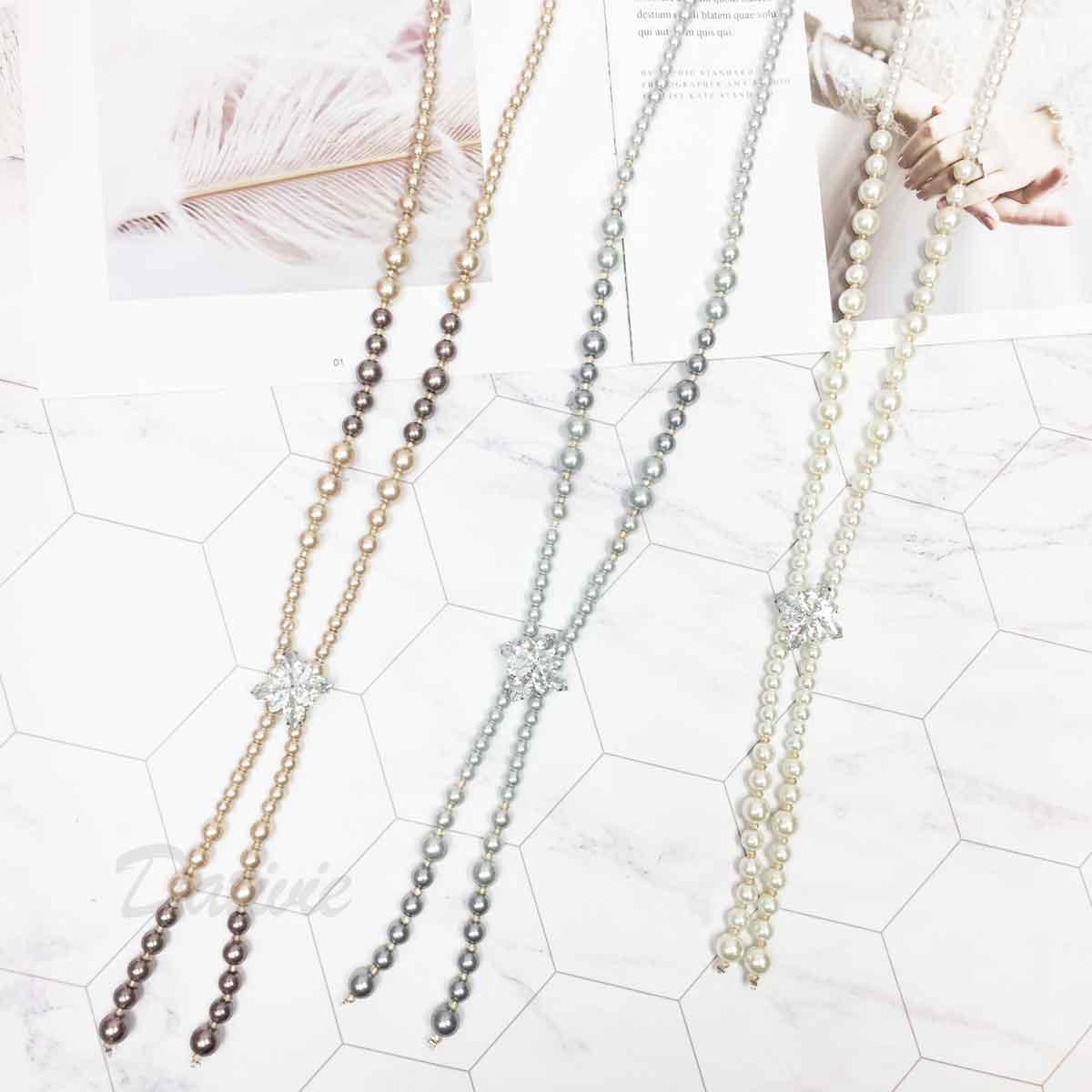 水鑽花 珍珠造型 串珠 3色 長項鍊
