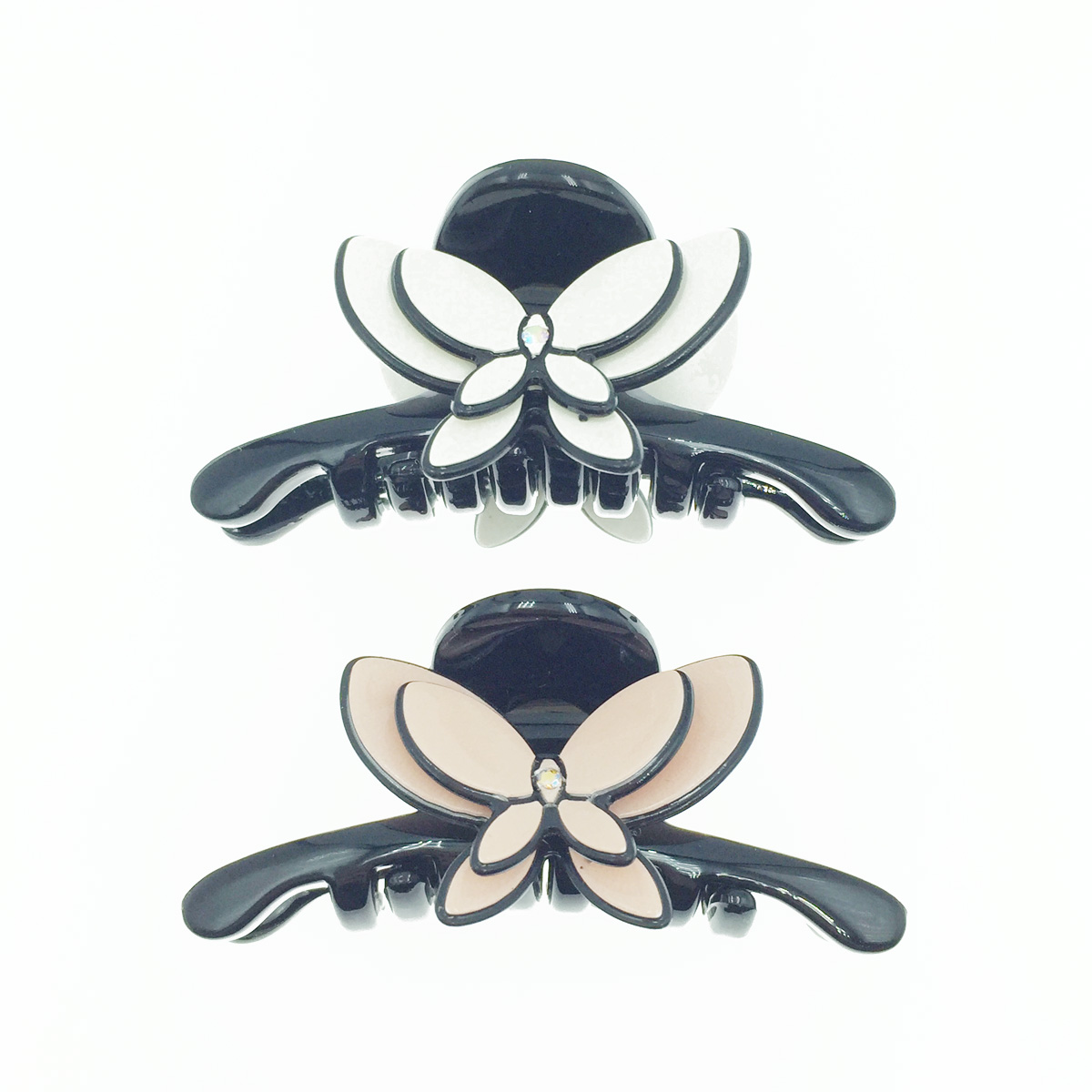 韓國 雙層蝴蝶 水鑽 2色 髮飾 小鯊魚夾 髮夾