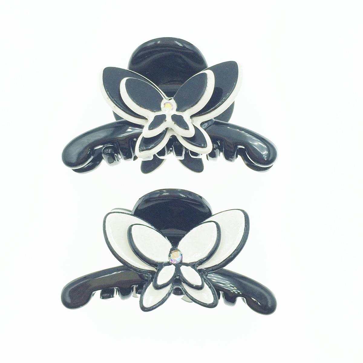 韓國 雙層水鑽蝴蝶 2色 髮飾 小抓夾 髮夾