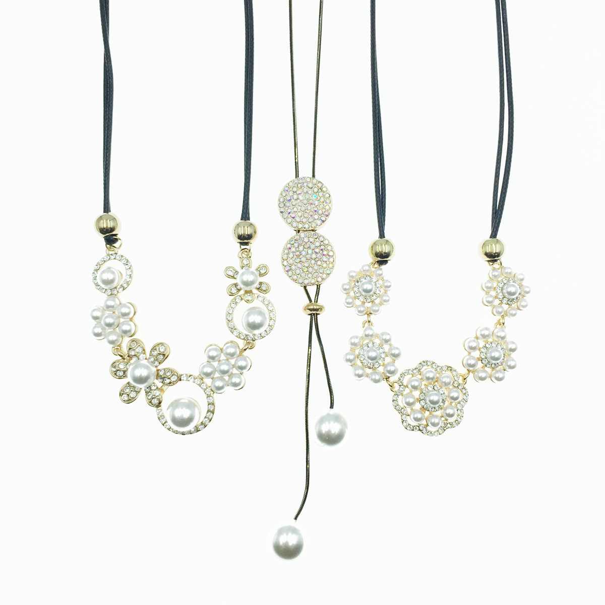 韓國 花 珍珠 水鑽 黑繩短鍊 長項鍊