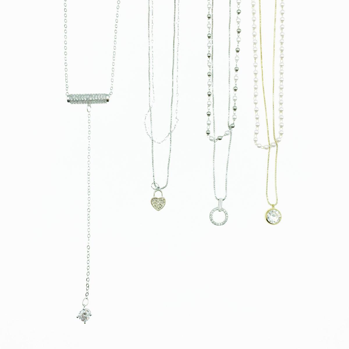 韓國 珍珠 水鑽 水晶串珠 4款 造型項鍊 長項鍊