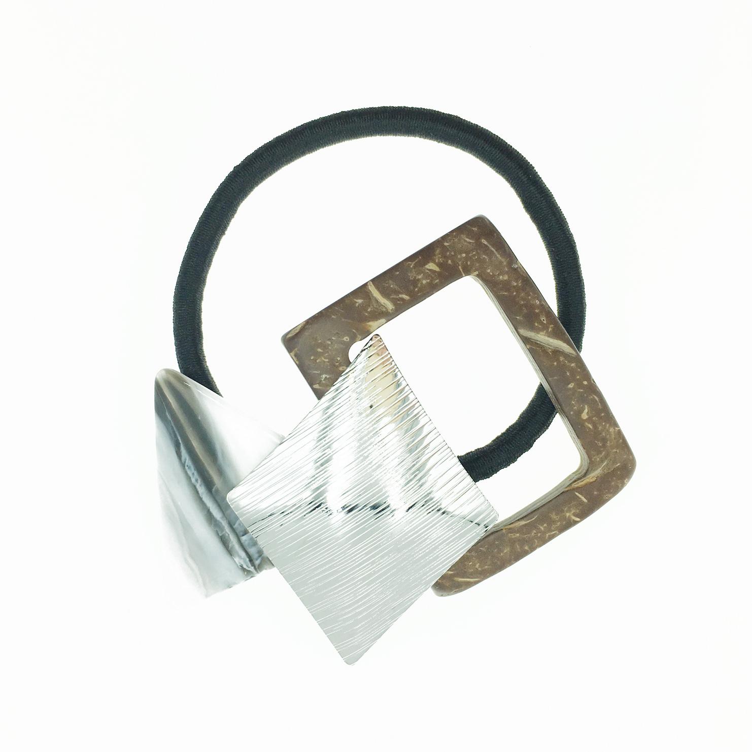韓國 大理石 簍空木頭 質感金屬 髮飾 髮束 髮圈