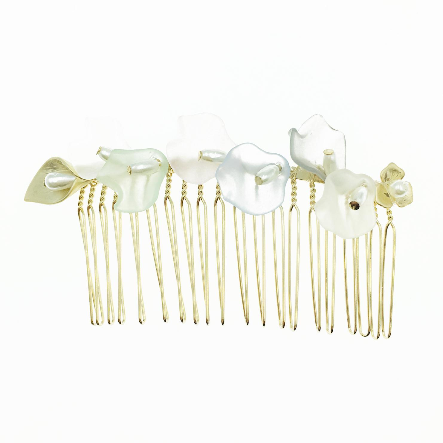 韓國 花造型 珍珠 髮飾 髮插