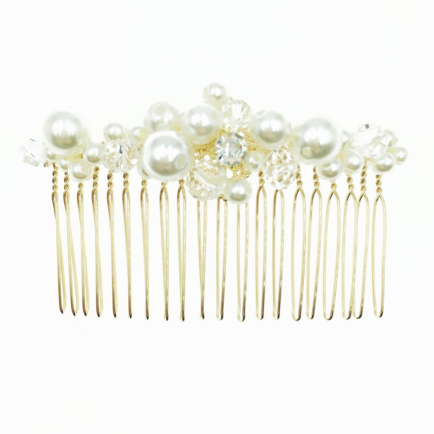 韓國 氣質珍珠 水鑽 透明水晶 優雅高貴 髮飾 髮插