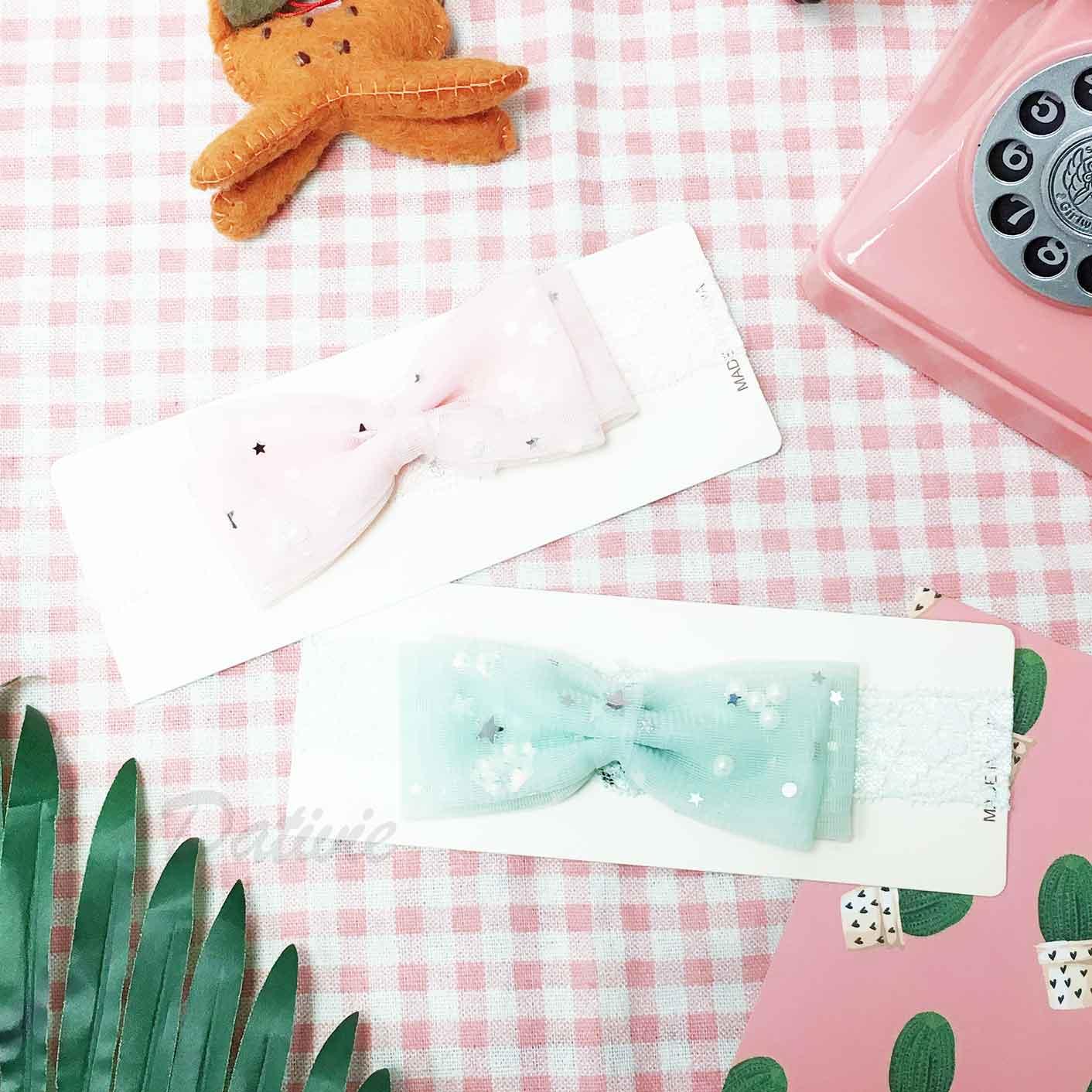 蝴蝶結 星星亮片 珍珠 蕾絲 2色 兒童髮飾 髮帶