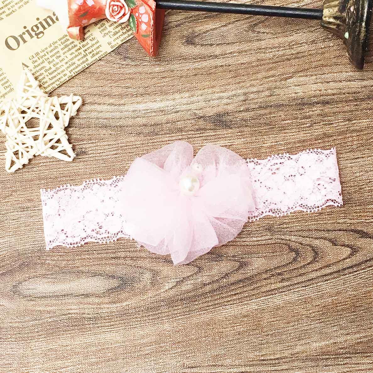 蕾絲 珍珠 亮片 粉色 兒童髮飾 髮帶