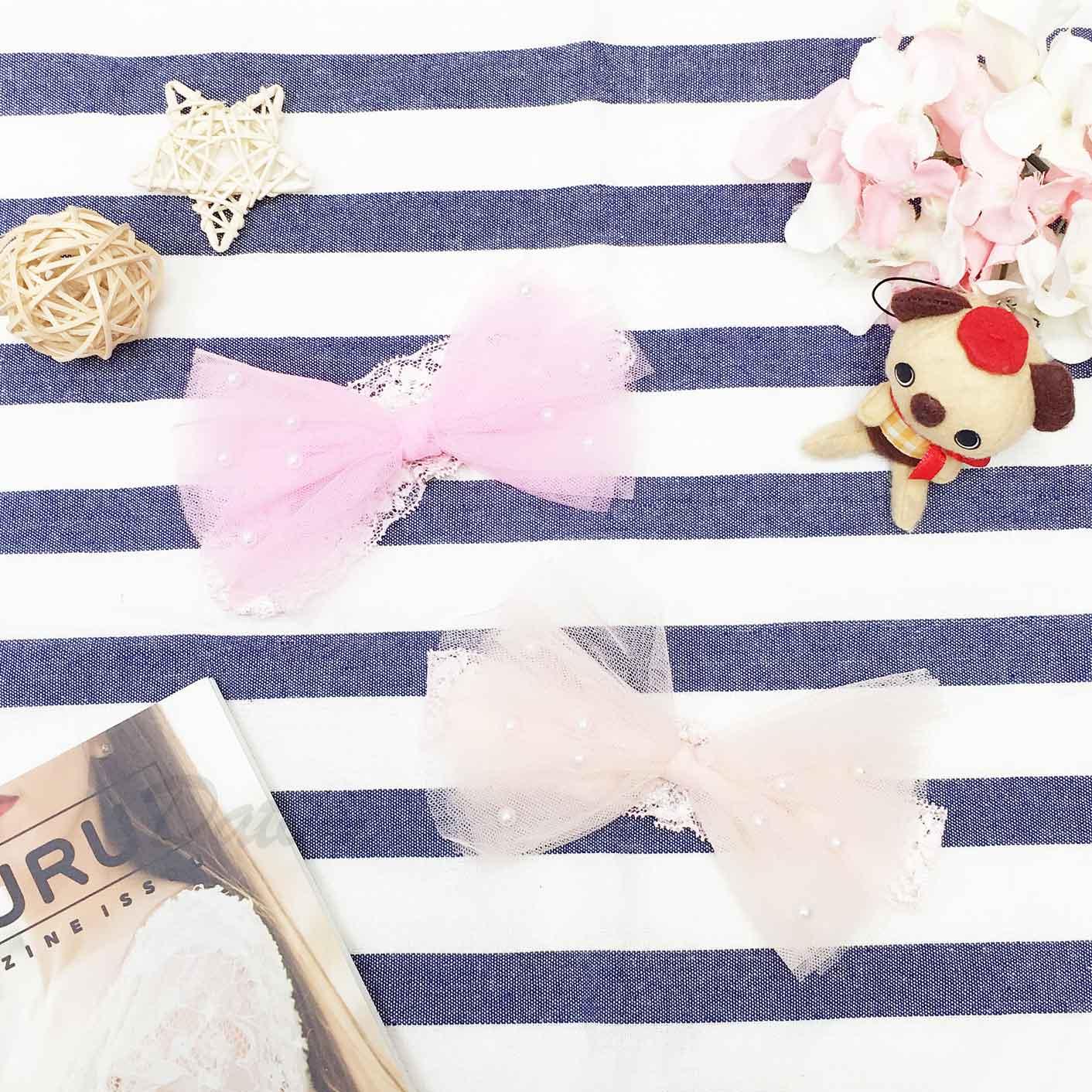 網紗蝴蝶結 蕾絲 珍珠 2色 兒童髮飾 髮帶