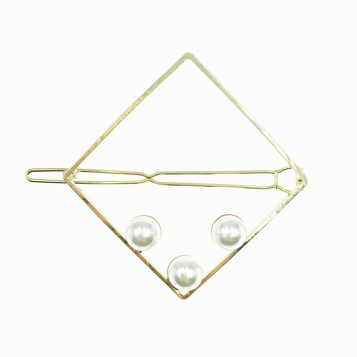 韓國 簍空金菱形 珍珠 髮飾 髮夾