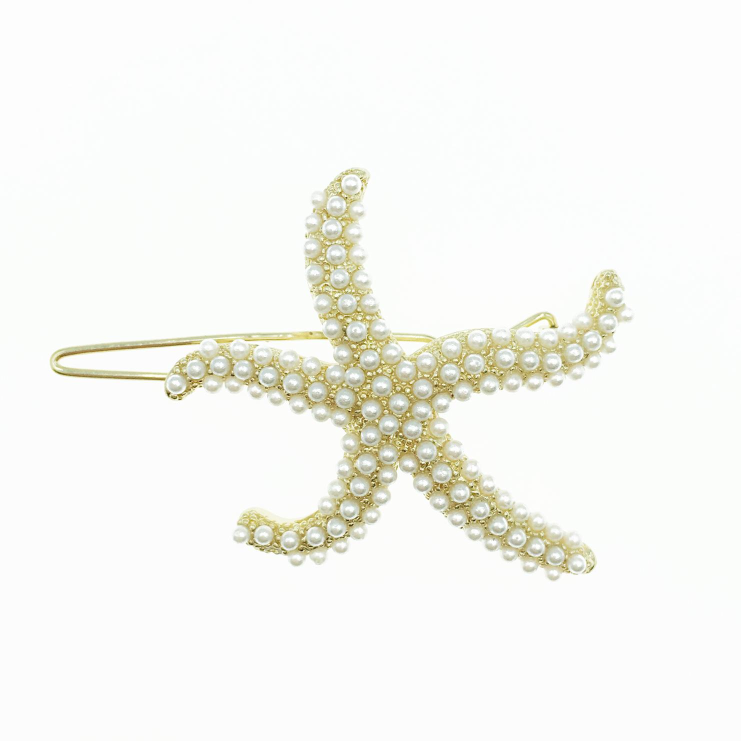 韓國 海星造型 滿版 珍珠 髮飾 髮夾