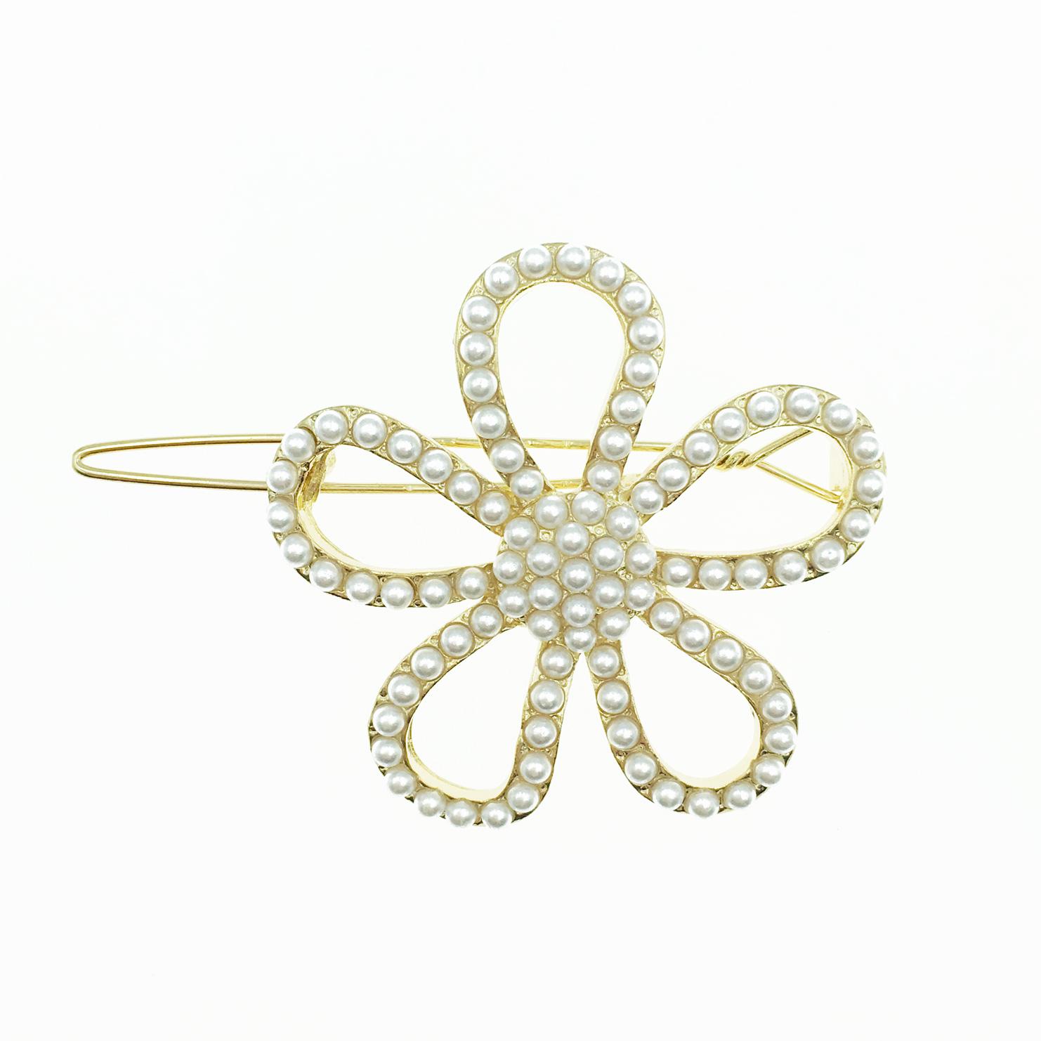 韓國 花造型 簍空 珍珠 髮飾 髮夾