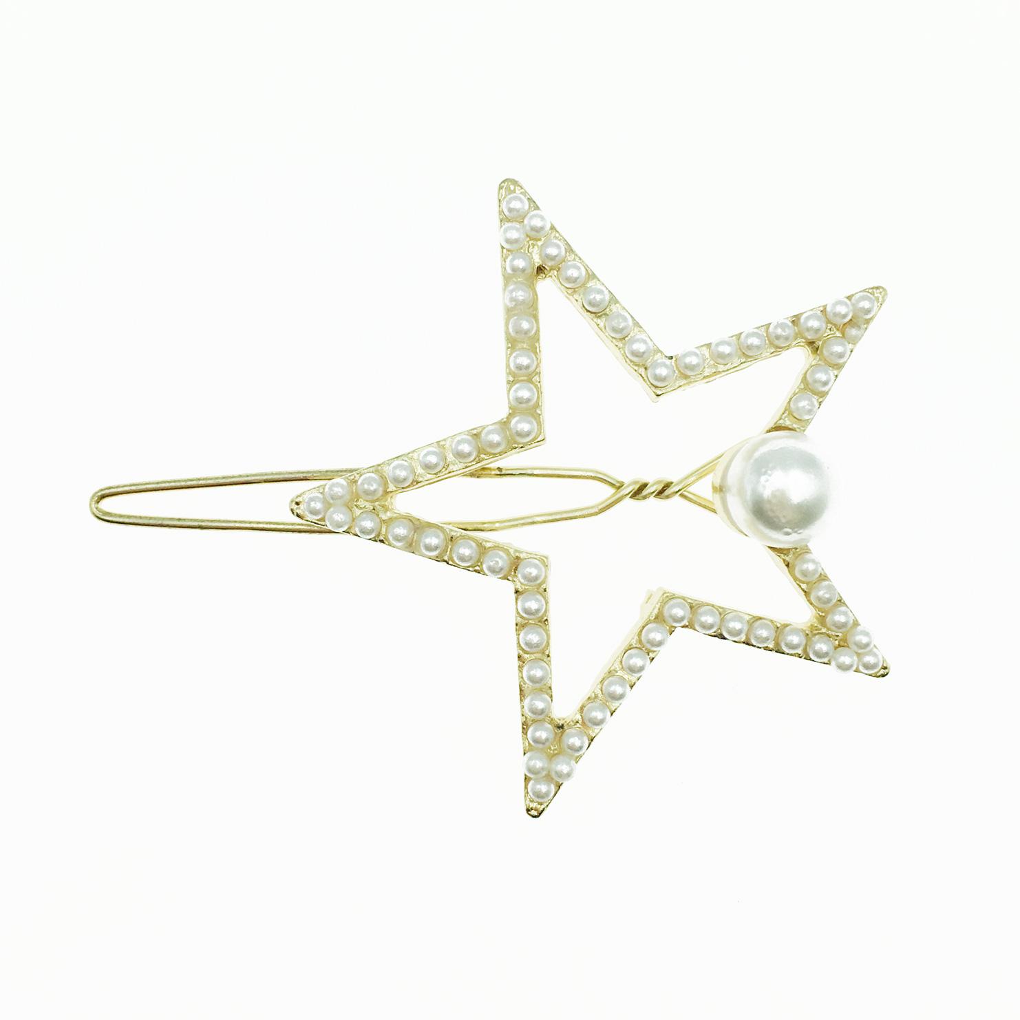 韓國 簍空星星 珍珠 髮飾 髮夾