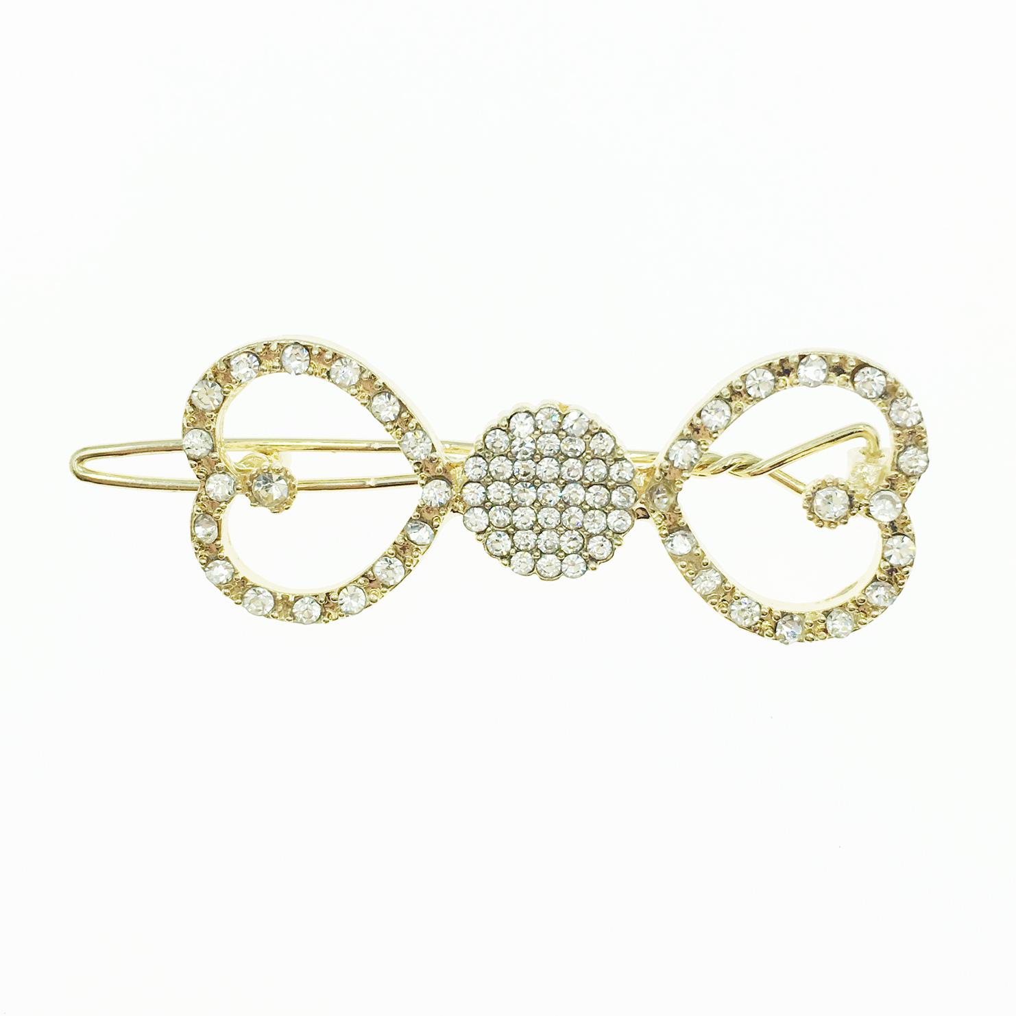 韓國 愛心水鑽簍空 金邊金框 髮飾 髮夾