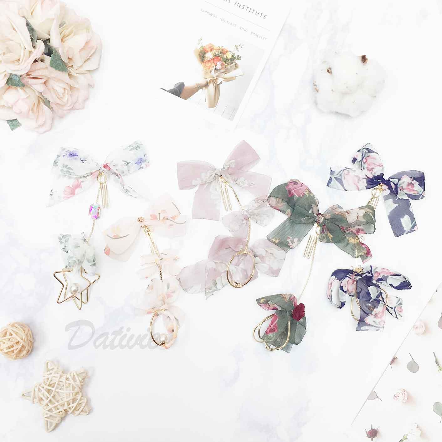 韓國 花 蝴蝶結 蕾絲紗 珍珠 水鑽 墜飾 髮飾 髮圈 髮束