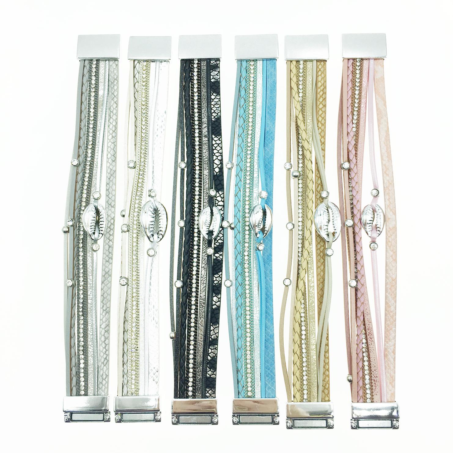 韓國 皮革 水鑽 線繩 個性款 6色 磁鐵手環