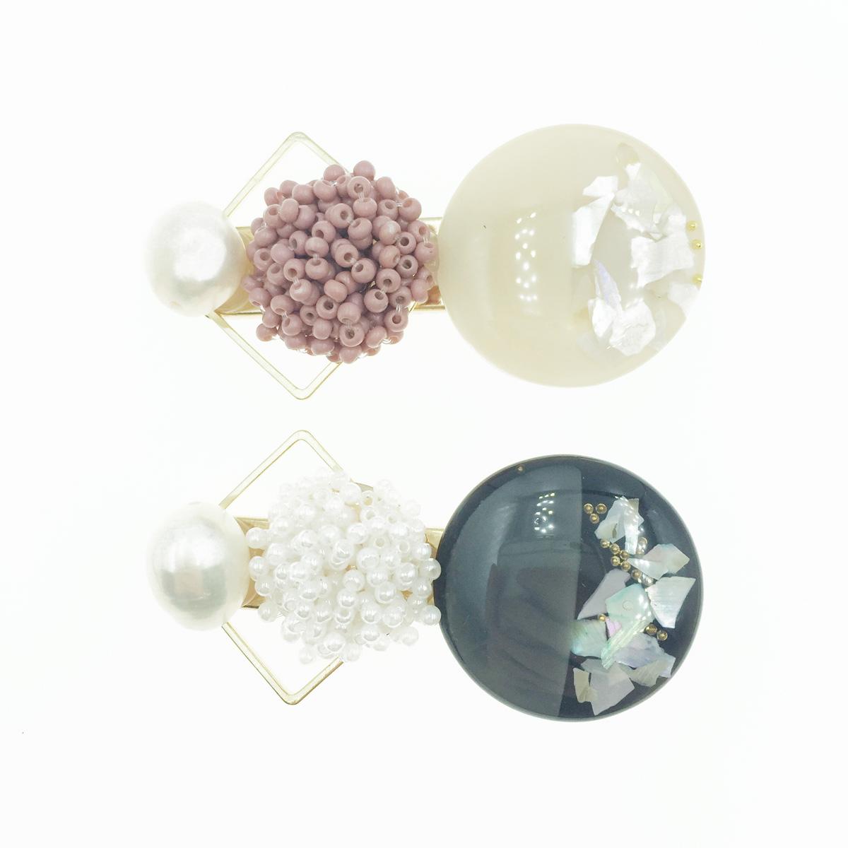 韓國 簍空菱形 珠珠 珍珠 髮飾 壓夾 髮夾