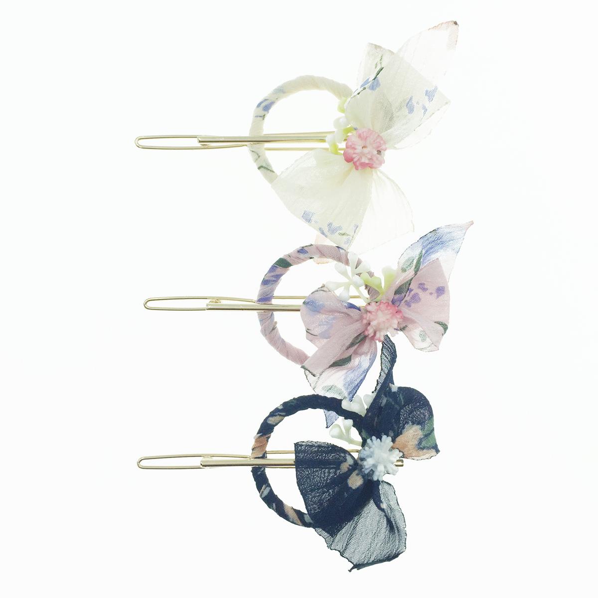 韓國 花 紗 蝴蝶結 3色 髮飾 髮夾