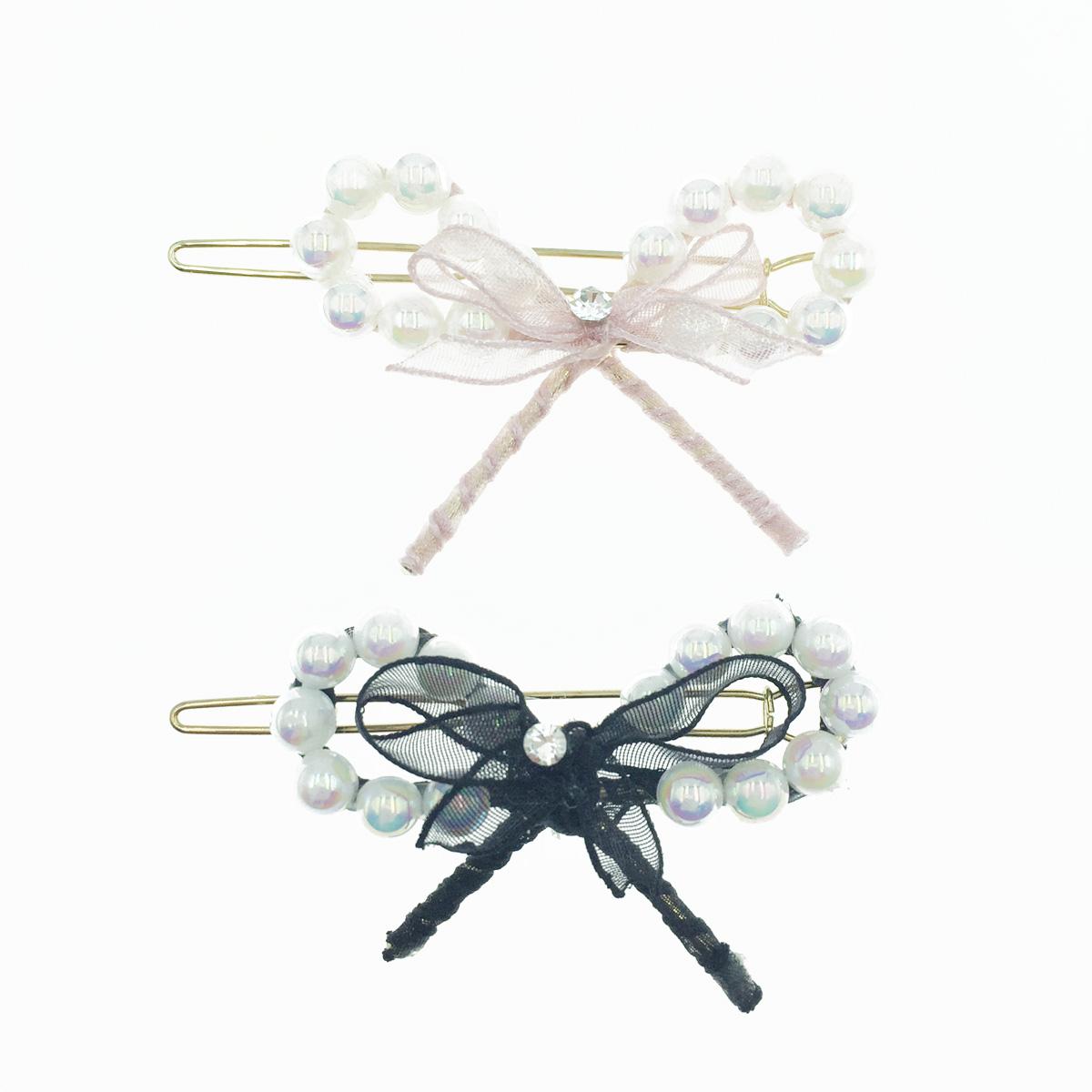 韓國 蝴蝶結造型 珍珠 紗 2色 髮飾 髮夾