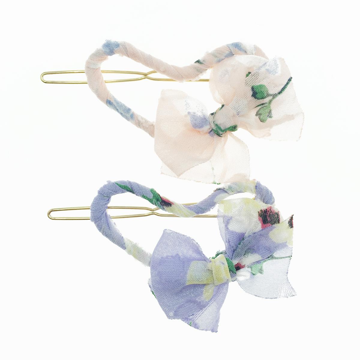 韓國 簍空愛心 紗 蝴蝶結 2色 髮飾 髮夾