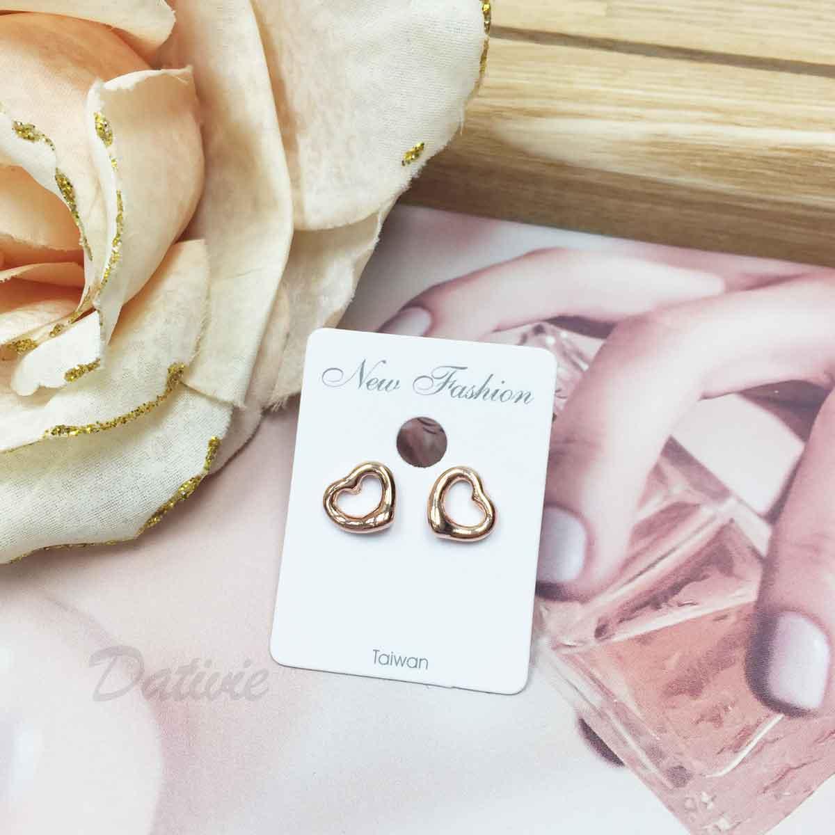簍空愛心 玫瑰金 甜美款 耳針式耳環