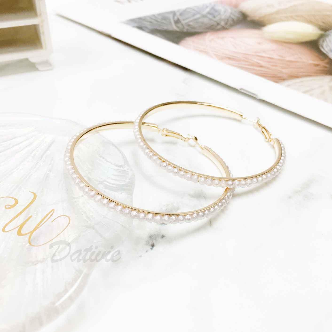 珍珠造型 簍空大圓圈 大圈圈 耳針式耳環