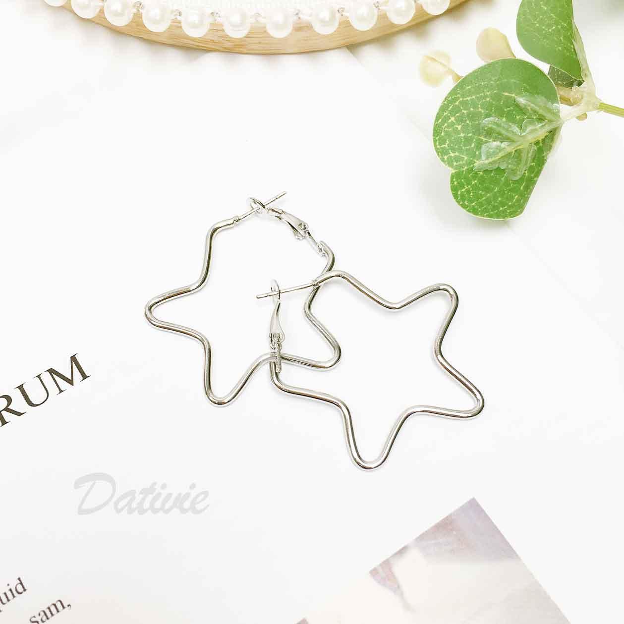 星星造型 簍空金屬星星 銀色 歐美風 耳針式耳環