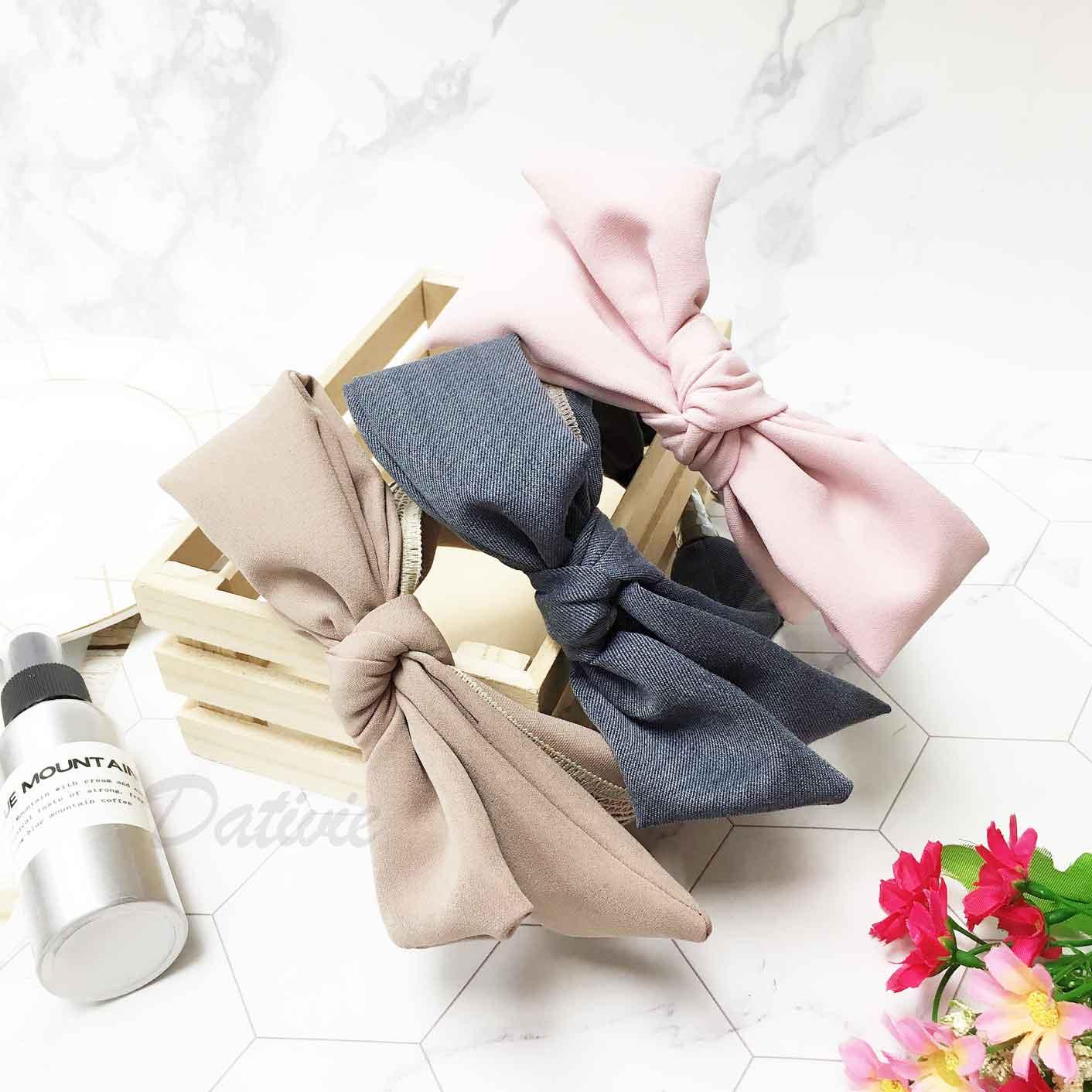 韓國 素色蝴蝶結 簍空蕾絲 英文字 3色 髮飾 髮箍 頭箍