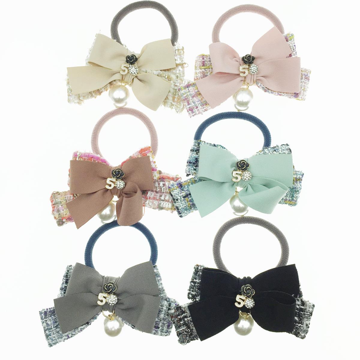 韓國 小香風 編織蝴蝶結 5 水鑽 花 垂墜珍珠 髮飾 髮圈 髮束