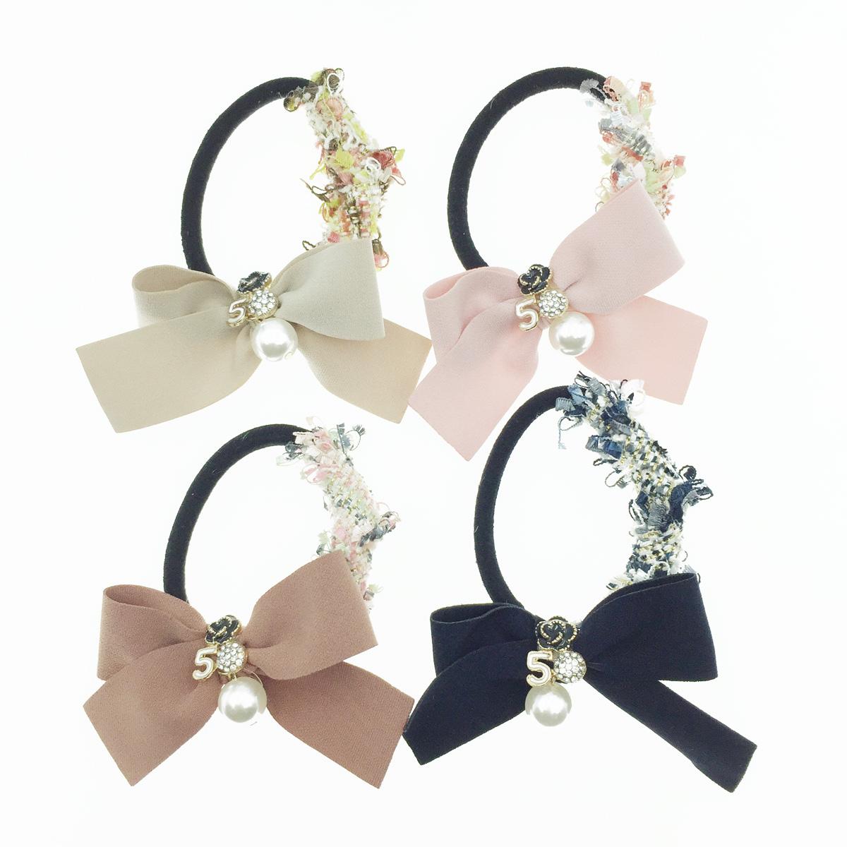 韓國 小香風 編織 5 水鑽 花 珍珠 髮飾 髮圈 髮束