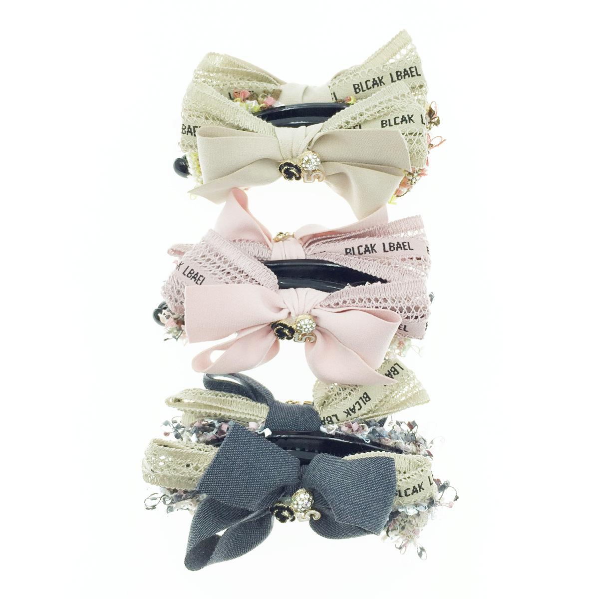 韓國 小香風 蝴蝶結 編織 5 水鑽 花 髮飾 髮夾 相交夾